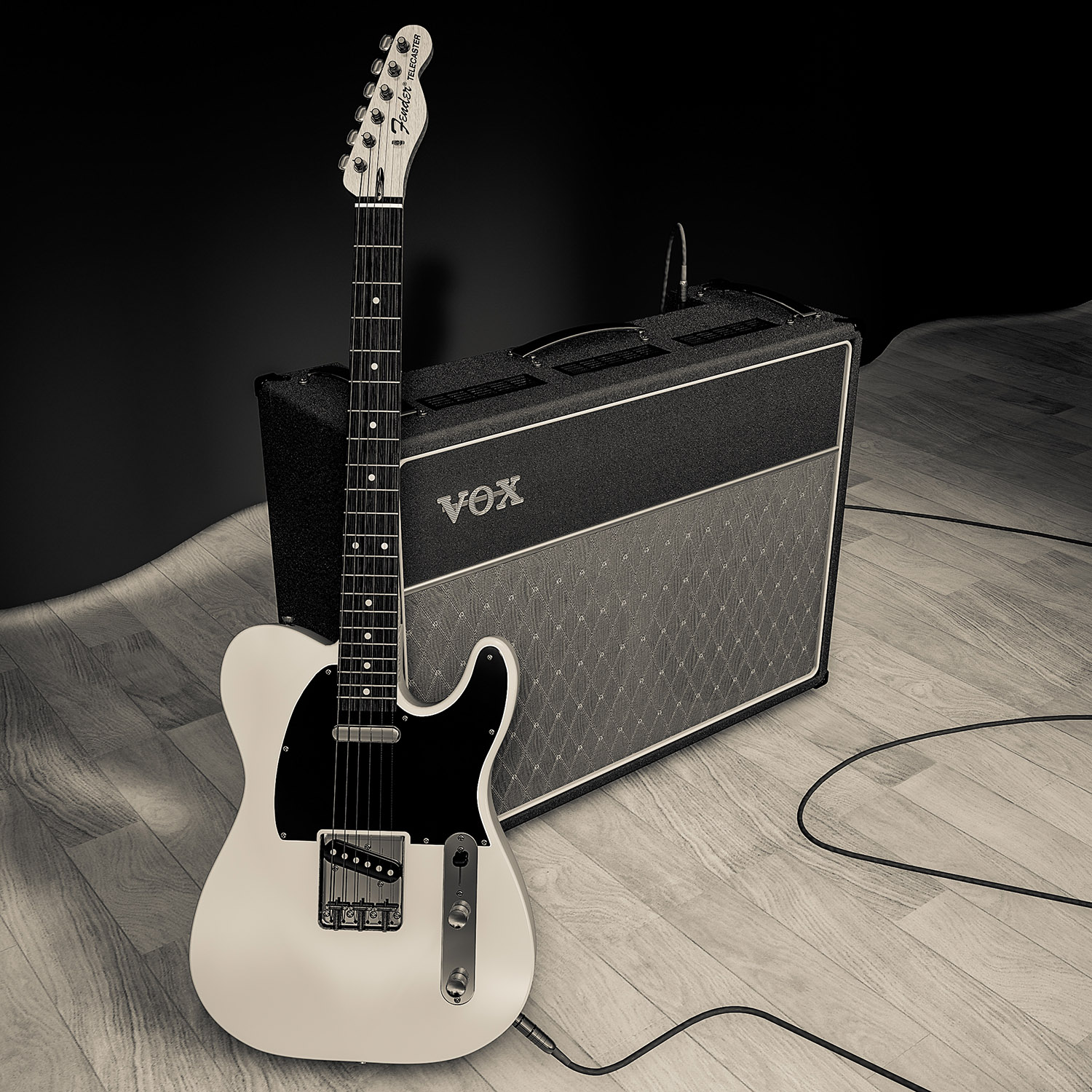 Fender Telecaster and Vox AC30 amplifier